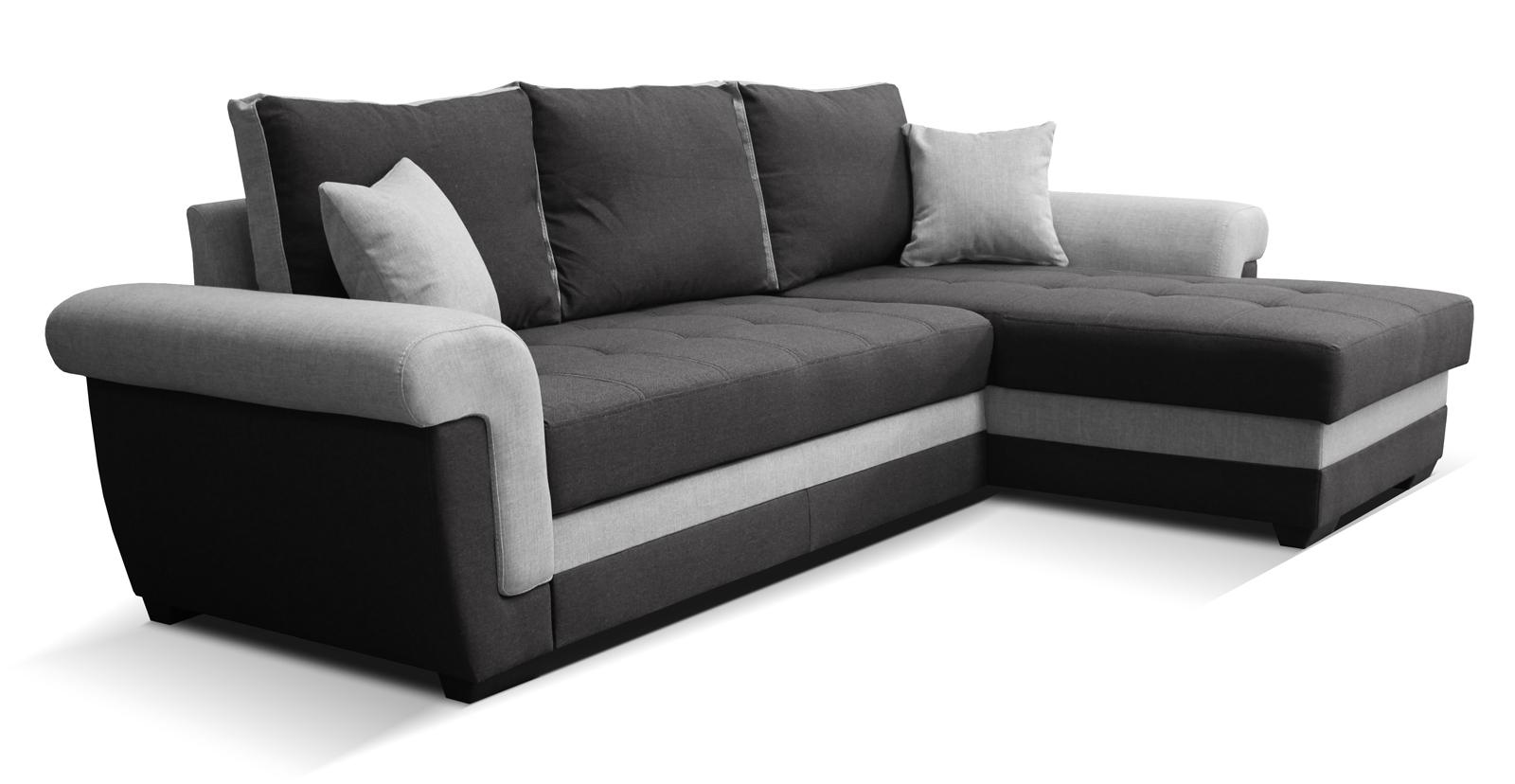 Rohová sedací souprava - Po-Sed - Rony 2F+L (černá + šedá) (P)