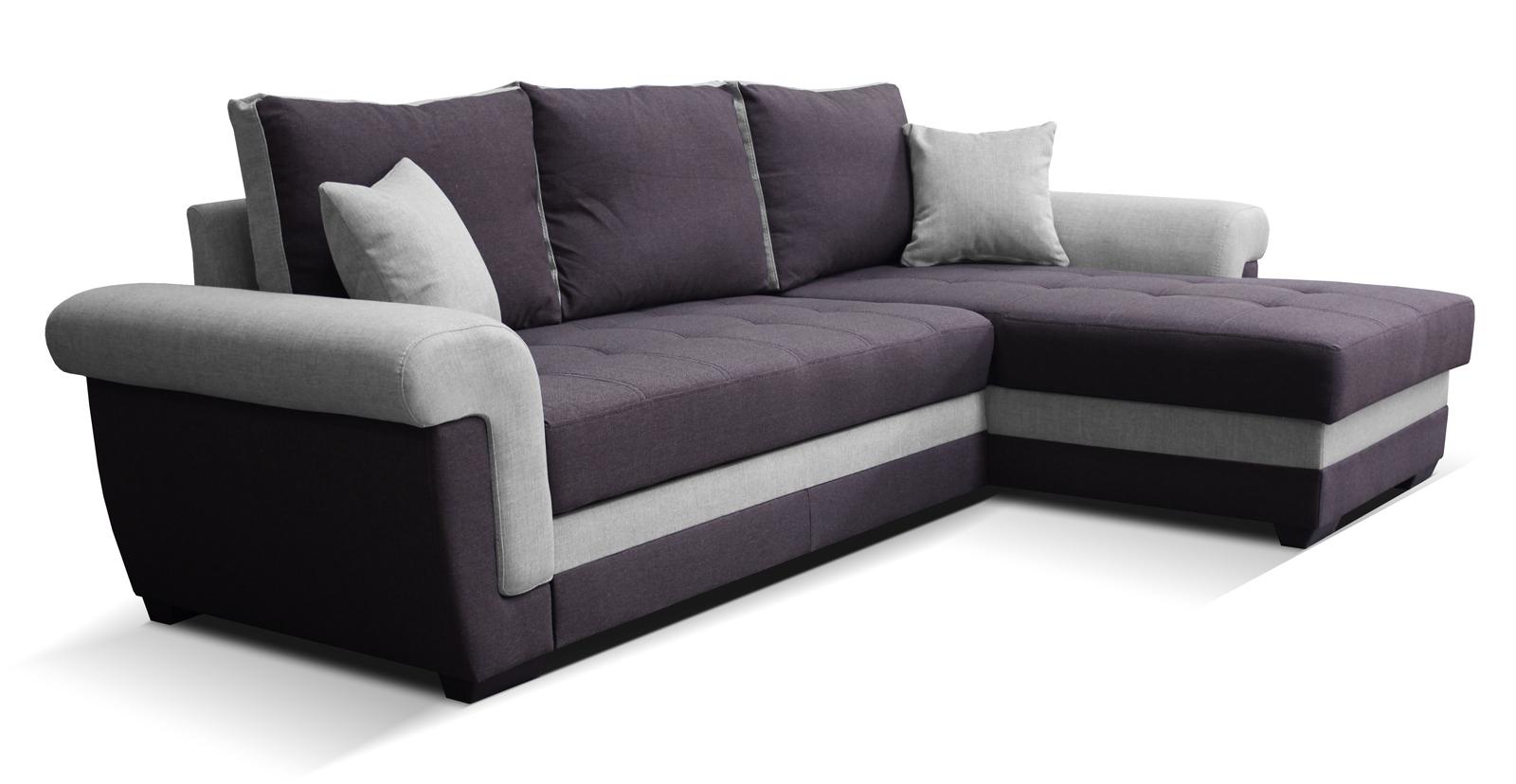 Rohová sedací souprava - Po-Sed - Rony 2F+L (fialová + šedá) (P)