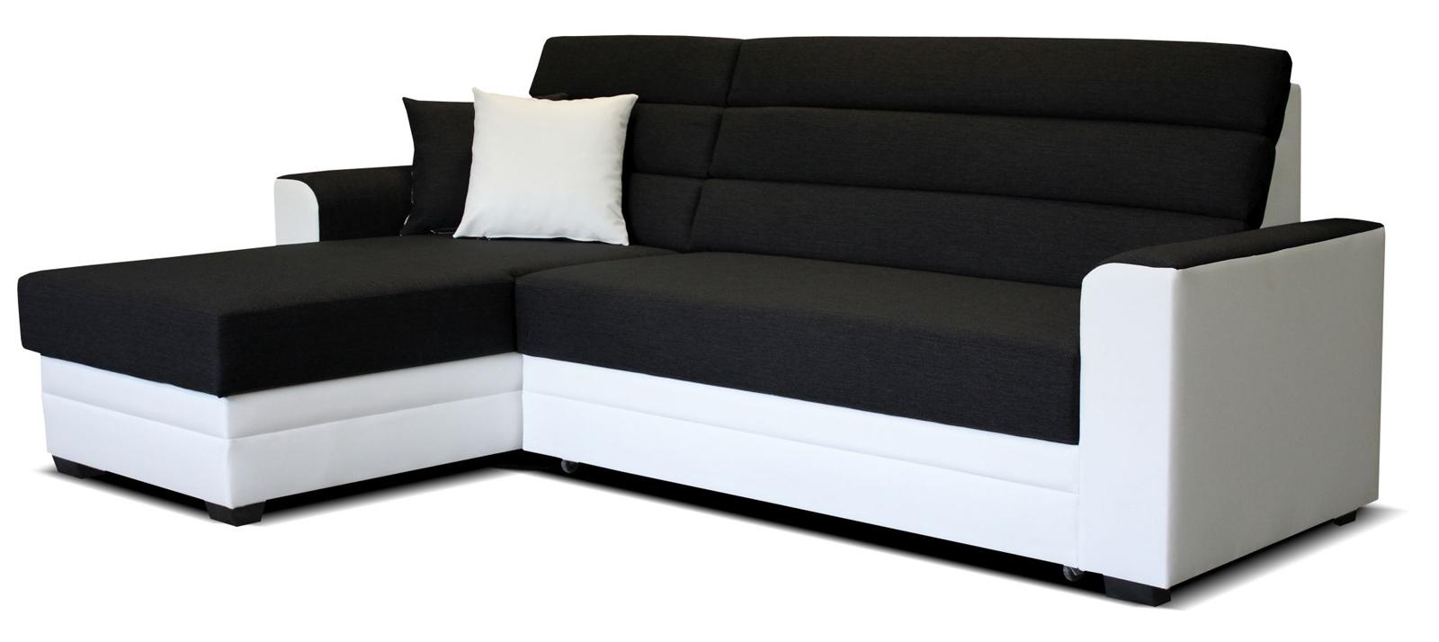 Rohová sedací souprava - Po-Sed - Ulm L+2F (černá + bílá) (L)