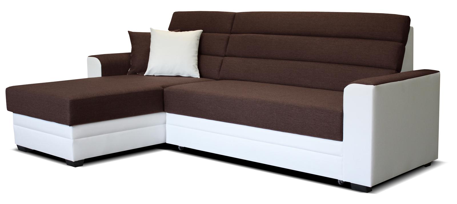 Rohová sedací souprava - Po-Sed - Ulm L+2F (hnědá + bílá) (L)