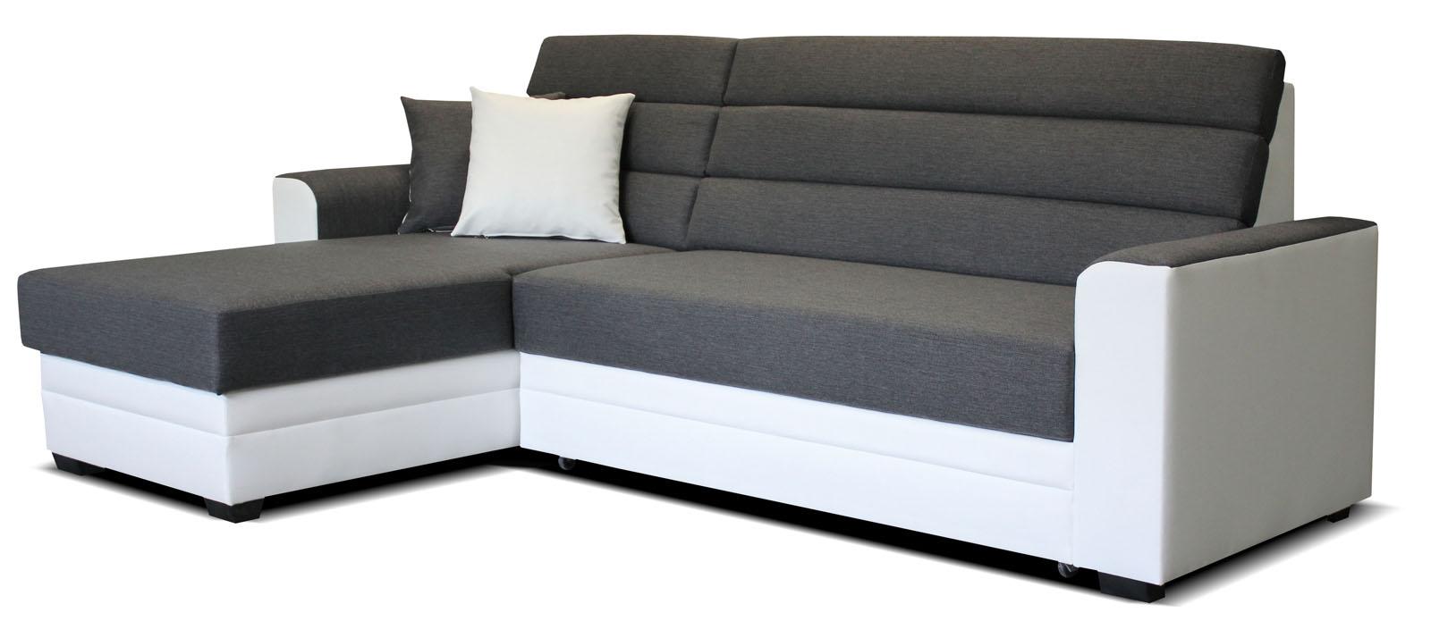 Rohová sedací souprava - Po-Sed - Ulm L+2F (šedá + bílá) (L)