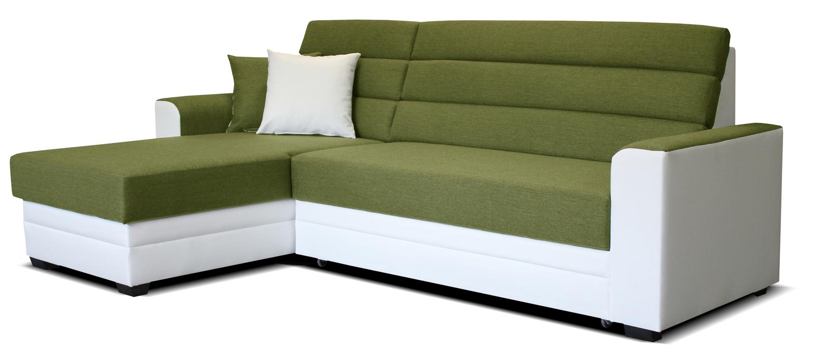 Rohová sedací souprava - Po-Sed - Ulm L+2F (zelená + bílá) (L)