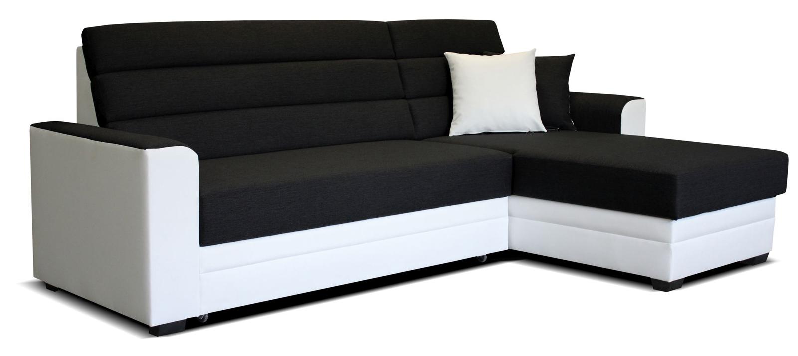 Rohová sedací souprava - Po-Sed - Ulm 2F+L (černá + bílá) (P)
