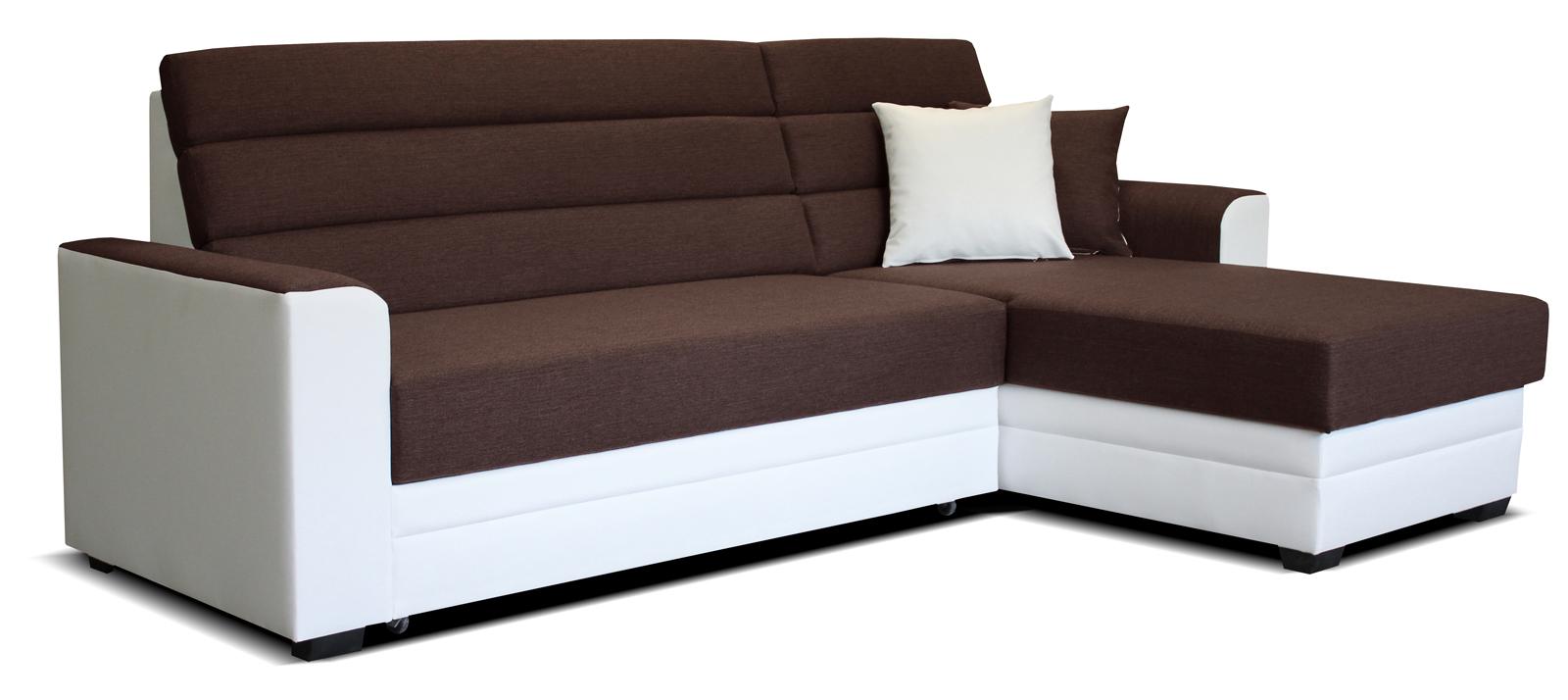 Rohová sedací souprava - Po-Sed - Ulm 2F+L (hnědá + bílá) (P)