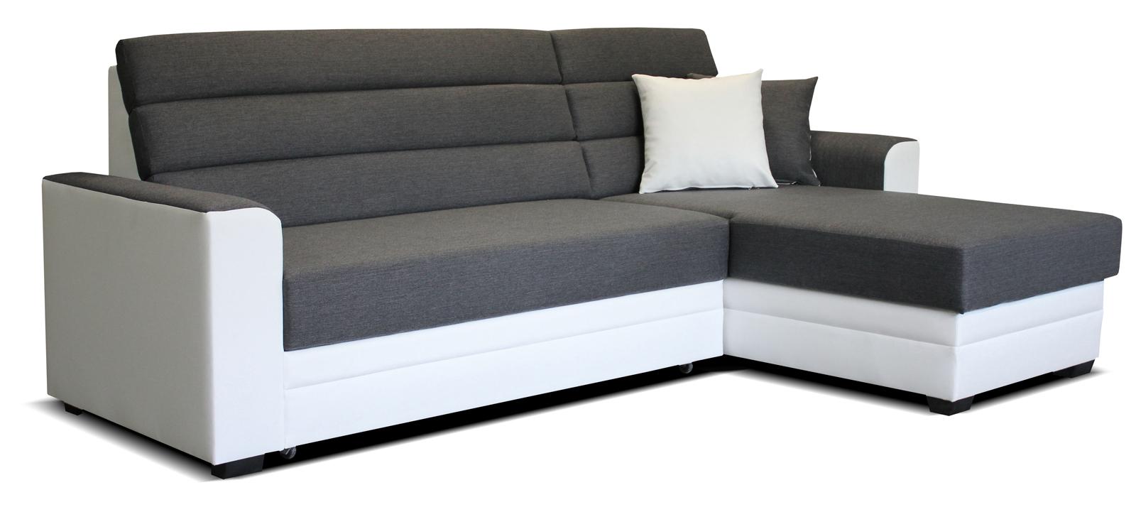 Rohová sedací souprava - Po-Sed - Ulm 2F+L (šedá + bílá) (P)