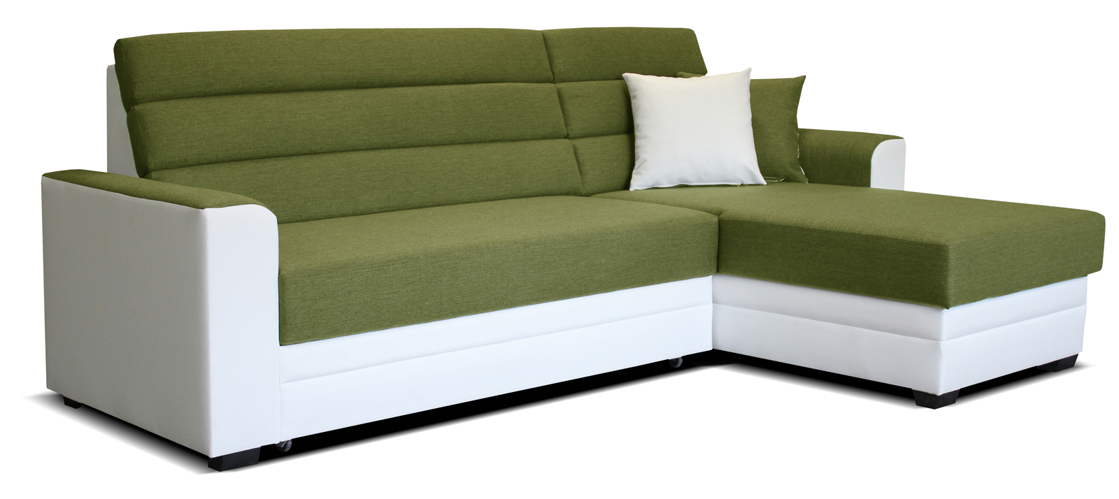 Rohová sedací souprava - Po-Sed - Ulm 2F+L (zelená + bílá) (P)
