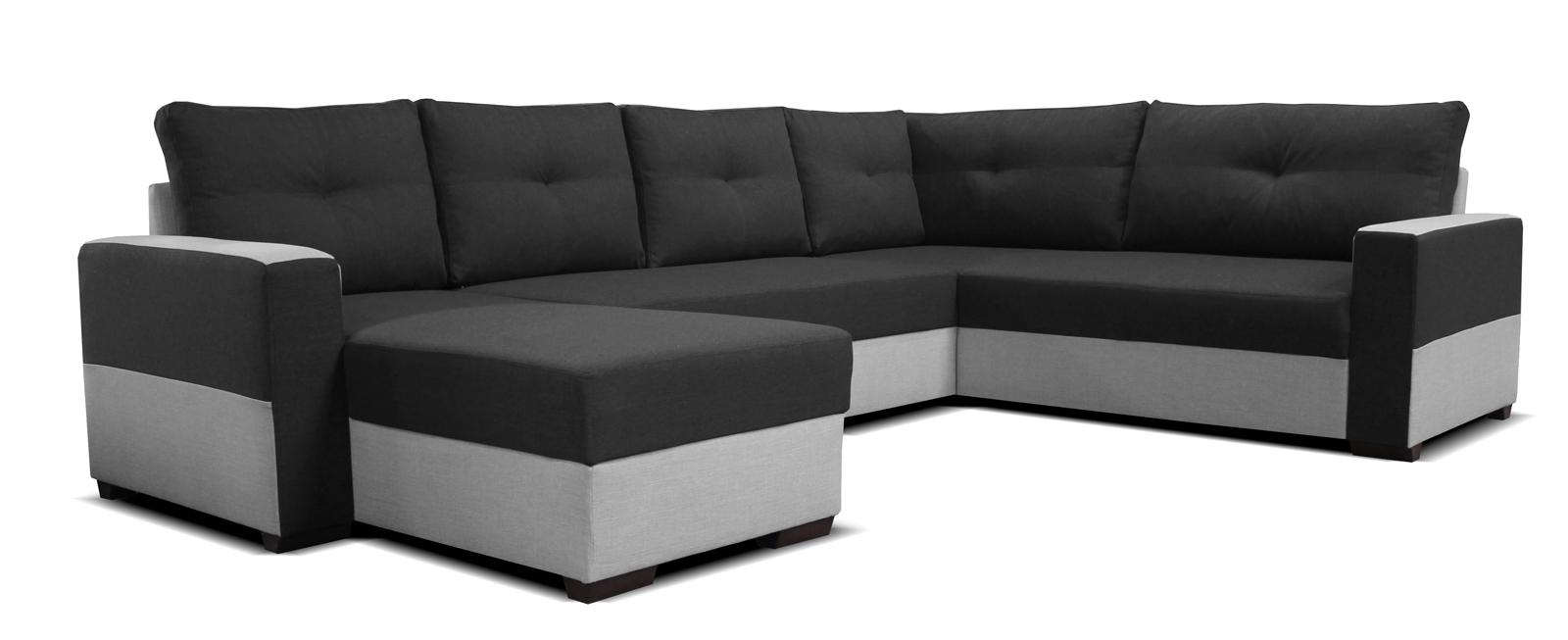 Rohová sedací souprava U - Po-Sed - Arenna L+2+BL (s taburetem) (černá + šedá) (L)