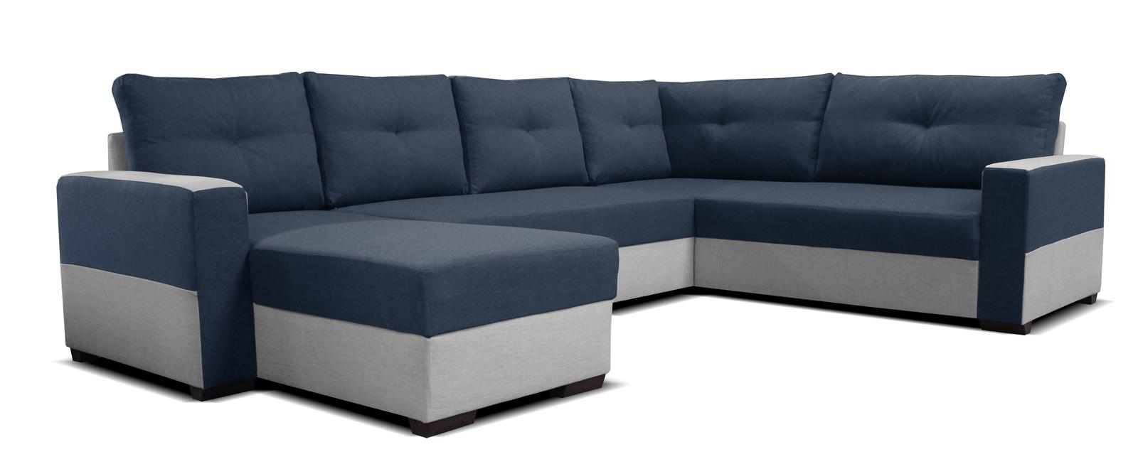 Rohová sedací souprava U - Po-Sed - Arenna L+2+BL (s taburetem) (modrá + šedá) (L)