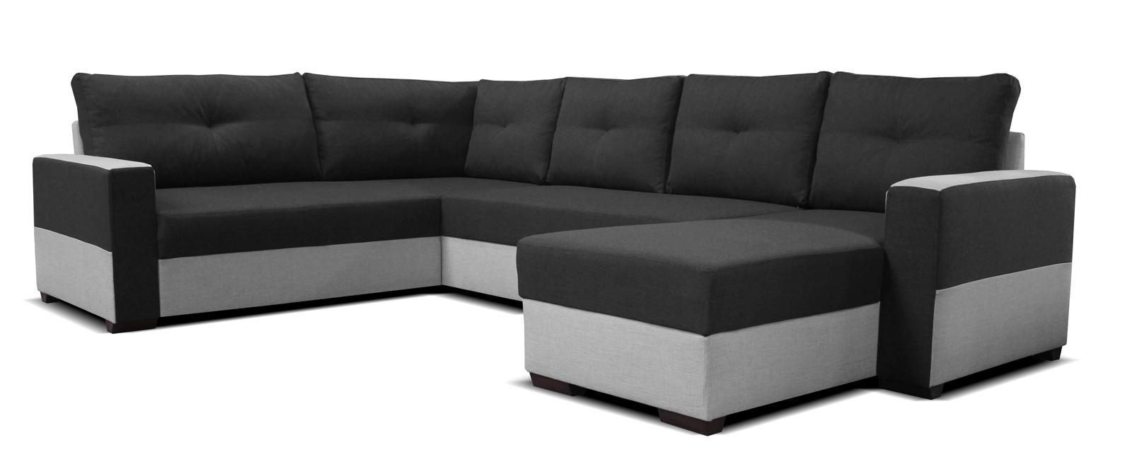 Rohová sedací souprava U - Po-Sed - Arenna BL+2+L (s taburetem) (černá + šedá) (P)