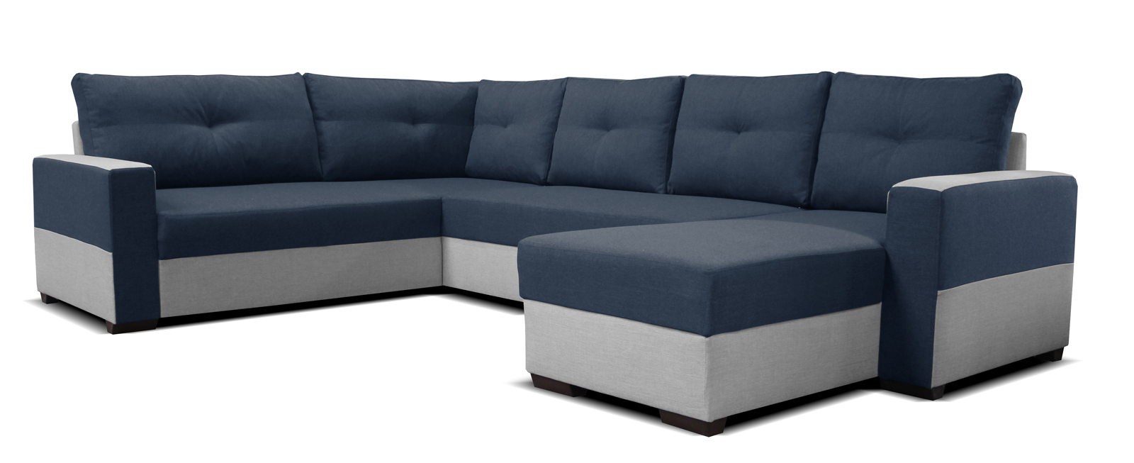 Rohová sedací souprava U - Po-Sed - Arenna BL+2+L (s taburetem) (modrá + šedá) (P)
