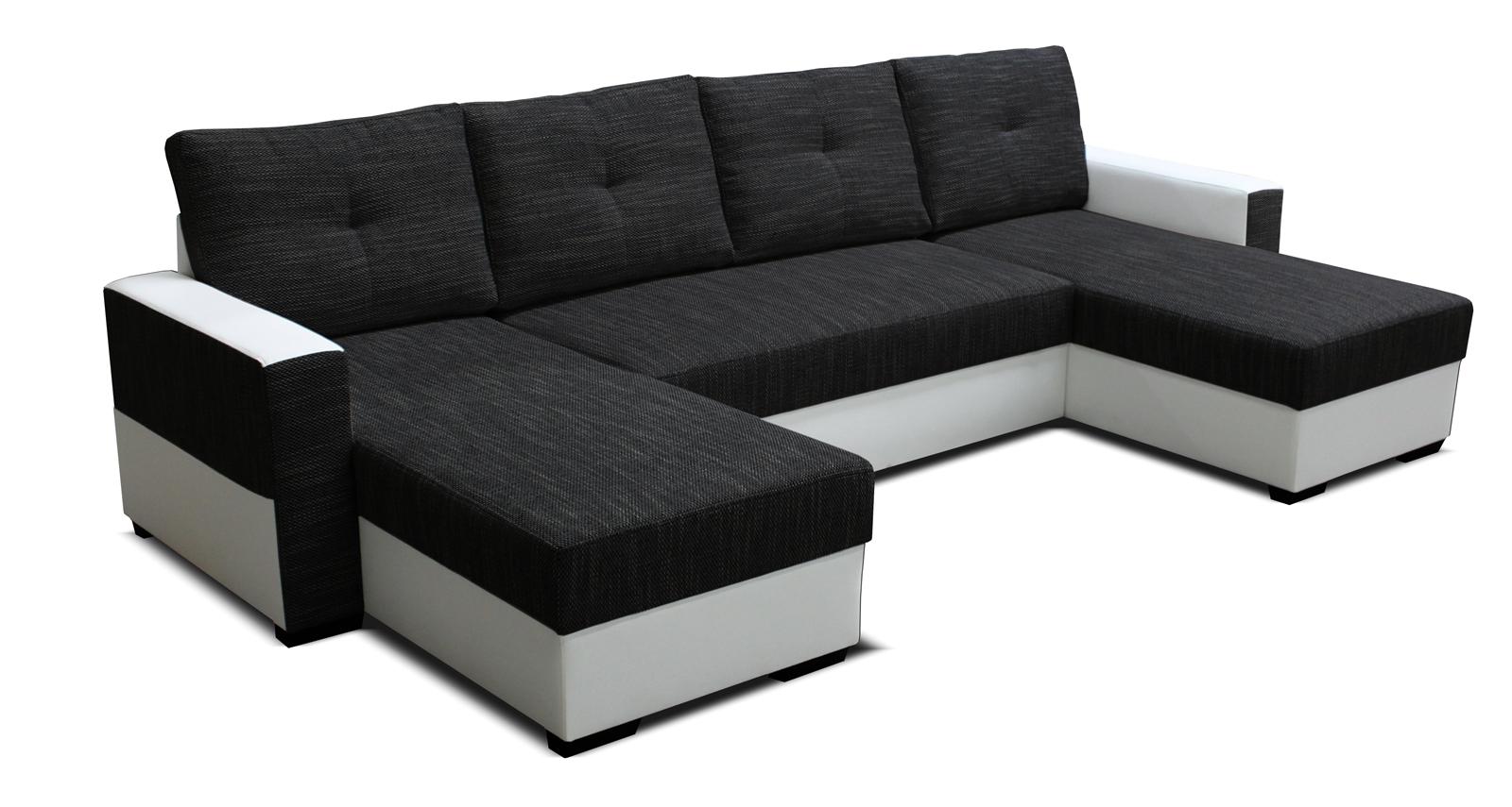 Rohová sedací souprava U - Po-Sed - Arenna L+2+L (s taburetem) (černá + bílá) (L)