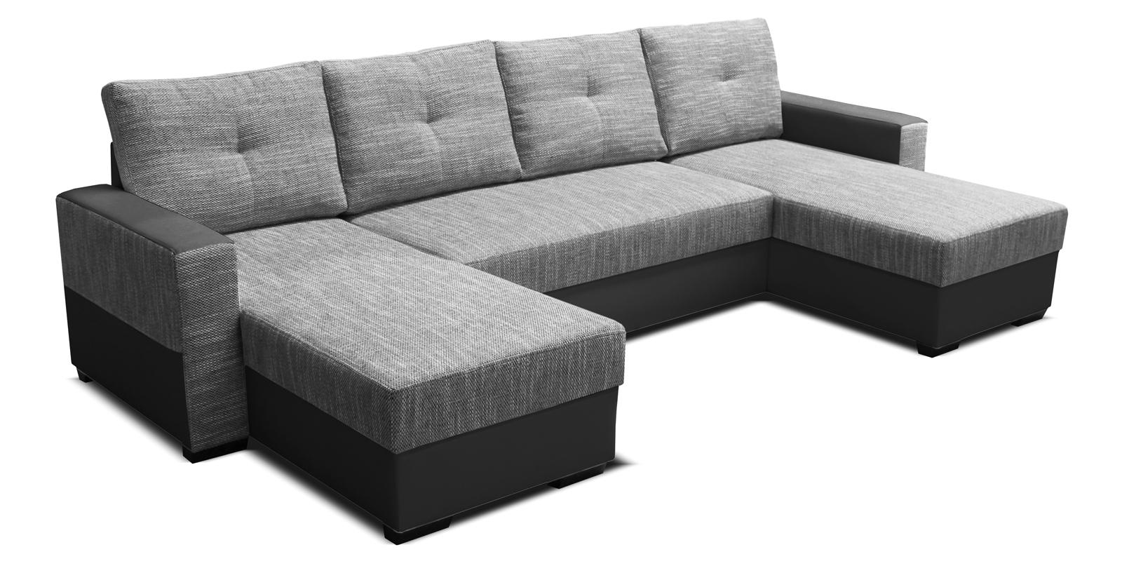Rohová sedací souprava U - Po-Sed - Arenna L+2+L (s taburetem) (šedá + černá) (L)