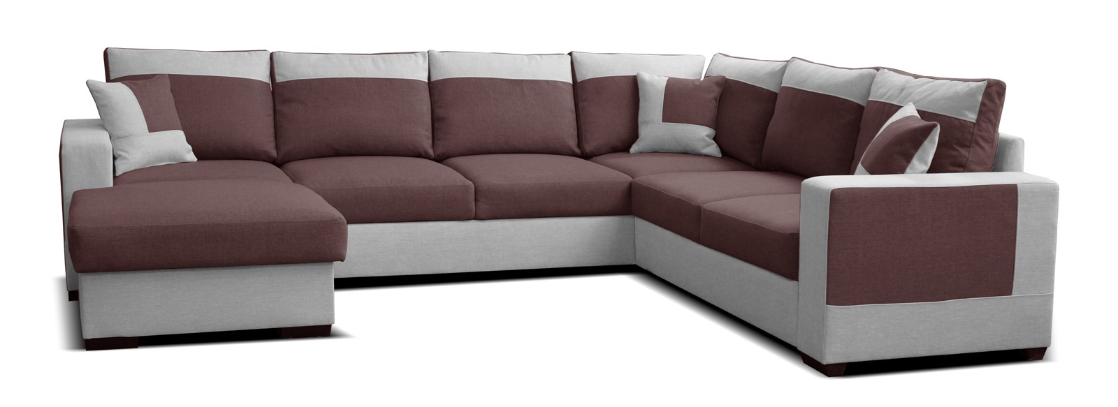 Rohová sedací souprava U - Po-Sed - Mega L+2F+A+2 (bordó + šedá) (L)
