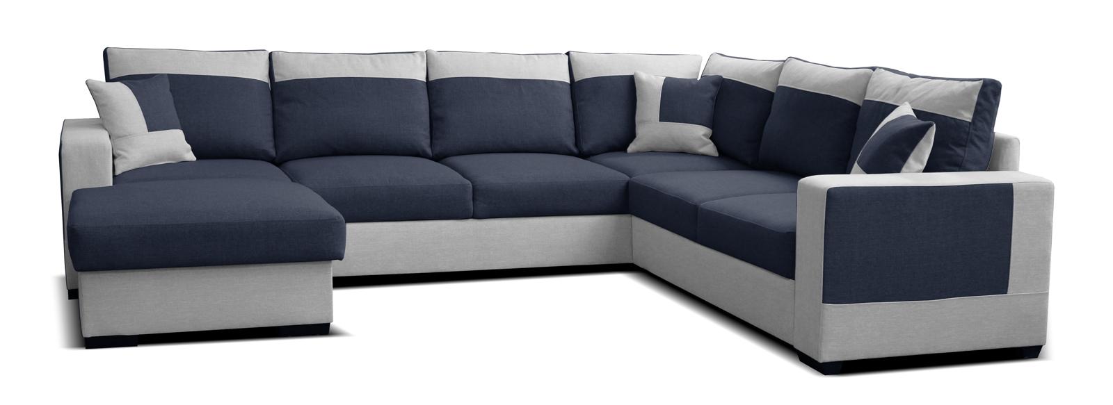 Rohová sedací souprava U - Po-Sed - Mega L+2F+A+2 (modrá + šedá) (L)