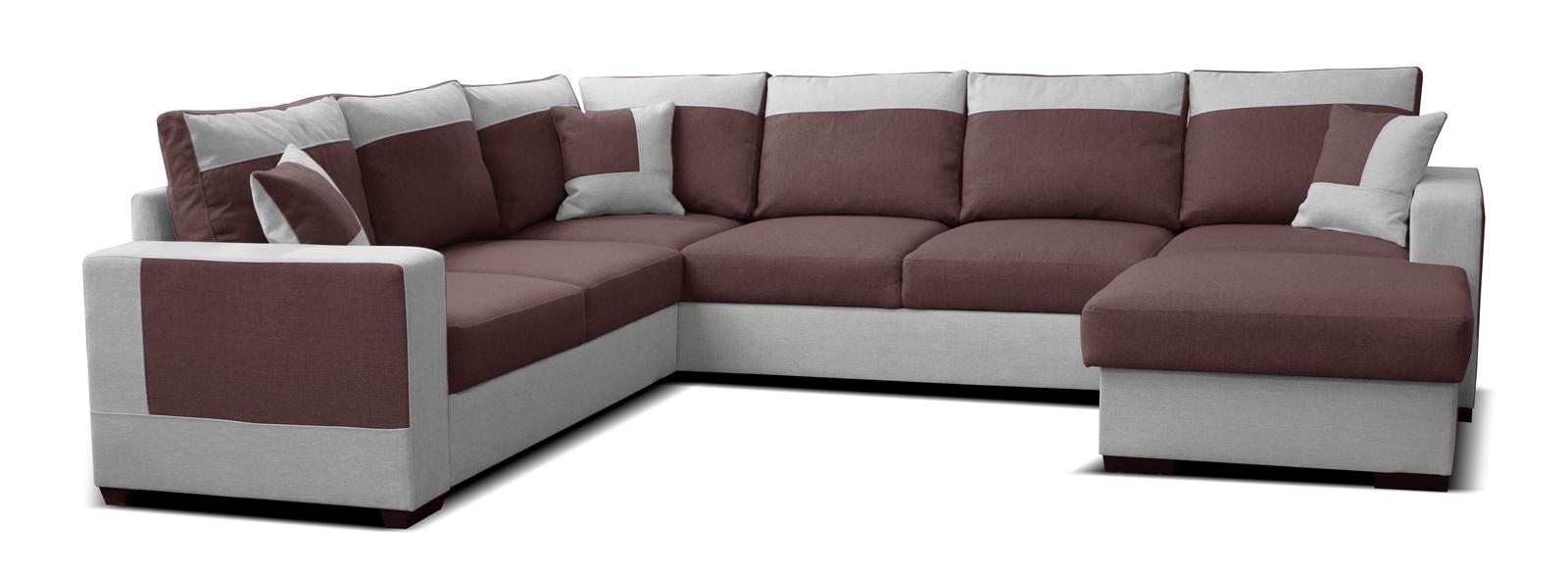 Rohová sedací souprava U - Po-Sed - Mega 2+A+2F+L (bordó + šedá) (P)