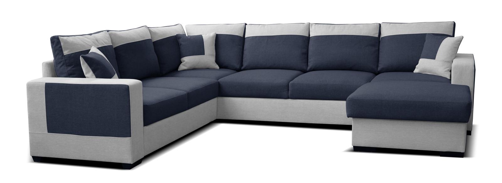 Rohová sedací souprava U - Po-Sed - Mega 2+A+2F+L (modrá + šedá) (P)