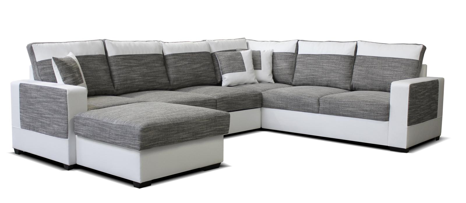 Rohová sedací souprava U - Po-Sed - Mega L+2F+A+2 (šedá + bílá) (L)
