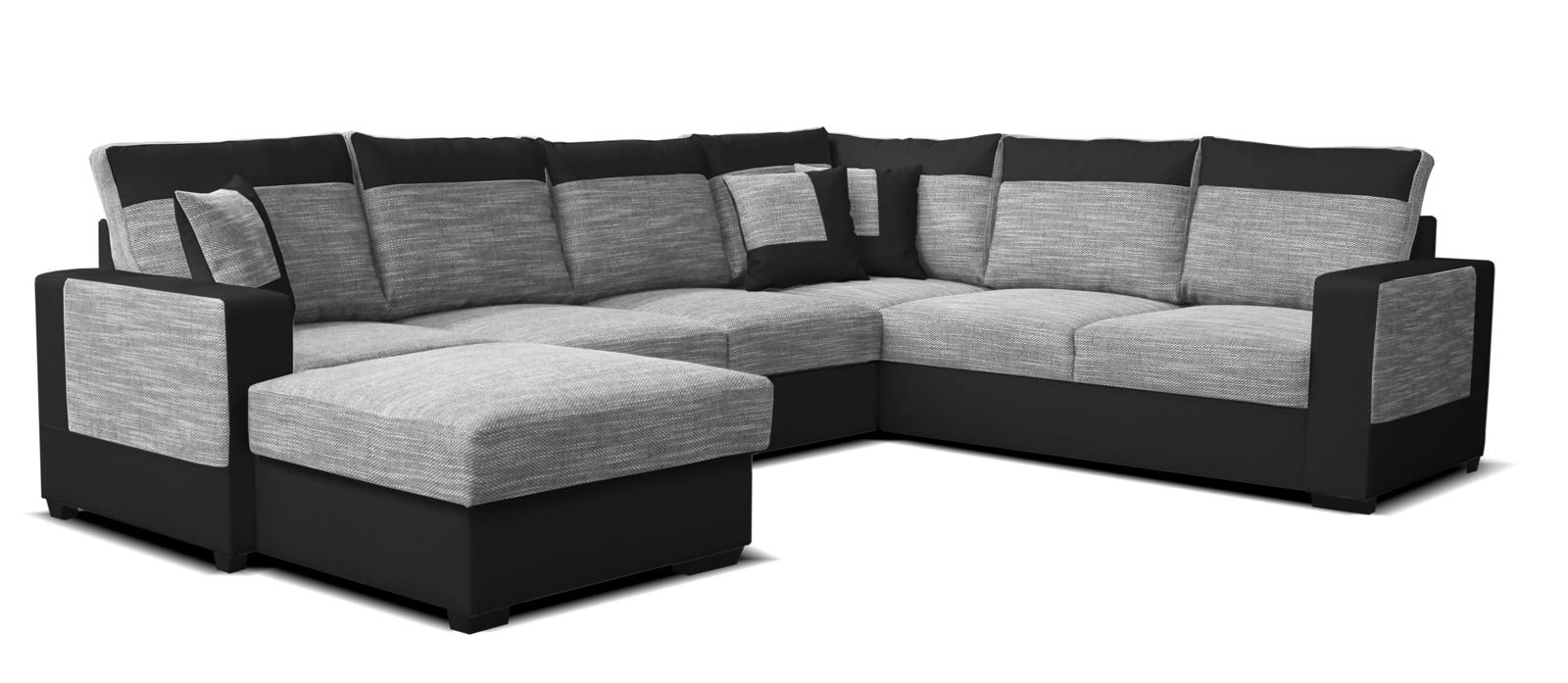 Rohová sedací souprava U - Po-Sed - Mega L+2F+A+2 (šedá + černá) (L)