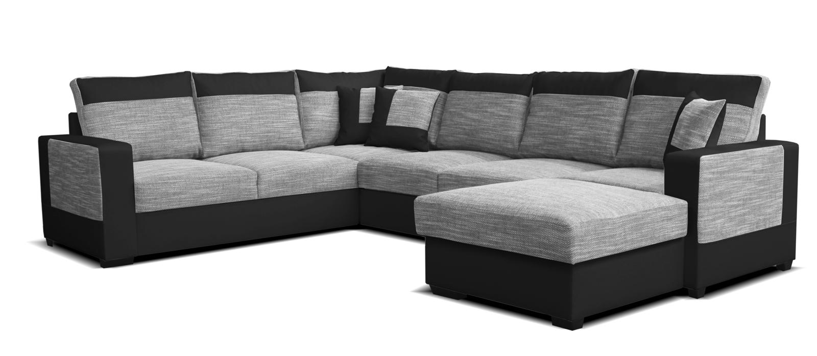 Rohová sedací souprava U - Po-Sed - Mega 2+A+2F+L (šedá + černá) (P)