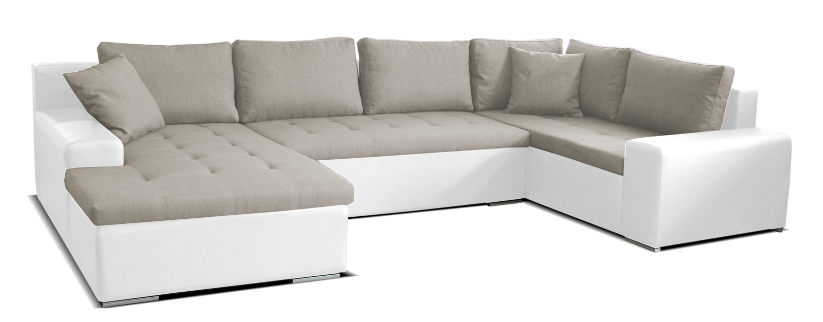 Rohová sedací souprava U - Po-Sed - Moreno L+2+BL (béžová + bílá) (L)