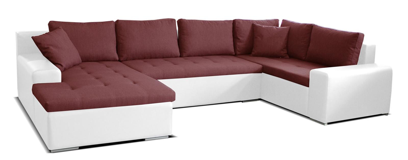 Rohová sedací souprava U - Po-Sed - Moreno L+2+BL (bordó + bílá) (L)