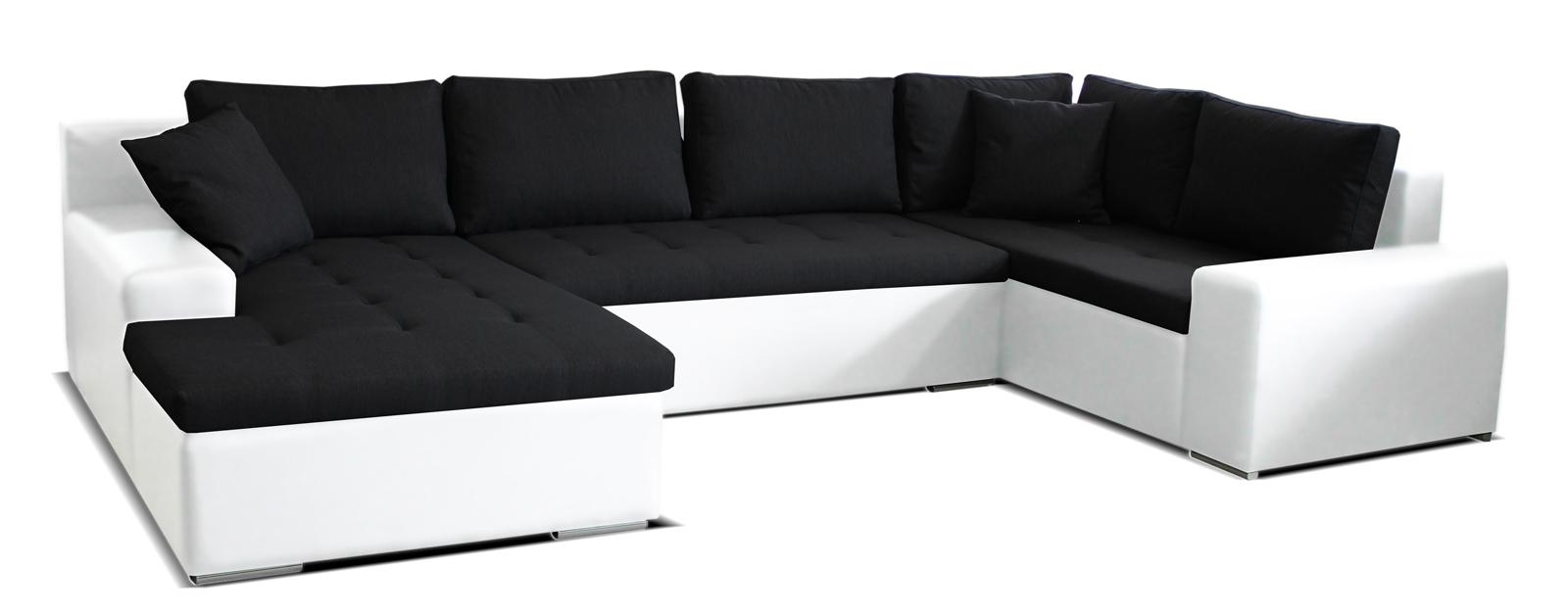 Rohová sedací souprava U - Po-Sed - Moreno L+2+BL (černá + bílá) (L)