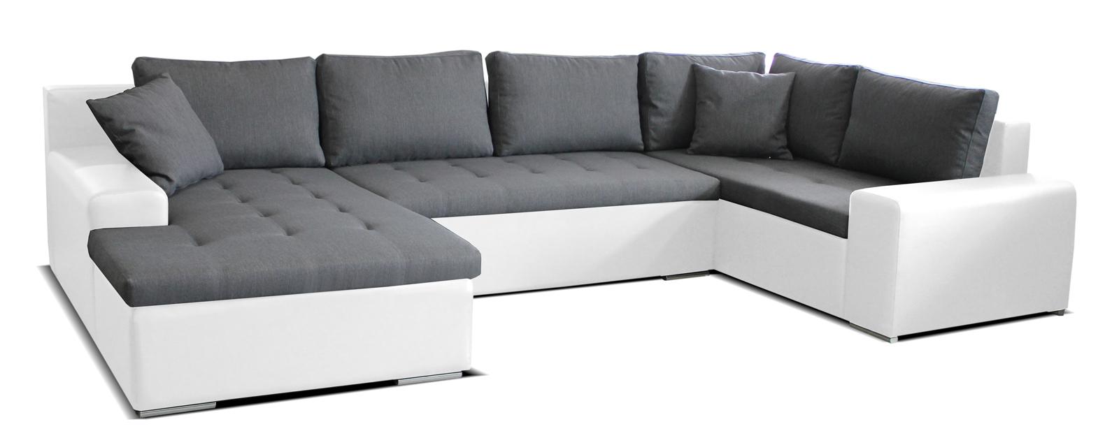 Rohová sedací souprava U - Po-Sed - Moreno L+2+BL (šedá + bílá) (L)