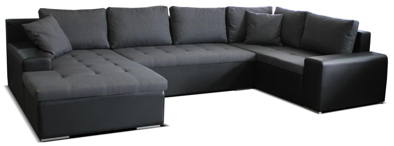 Rohová sedací souprava U - Po-Sed - Moreno L+2+BL (šedá + černá) (L)