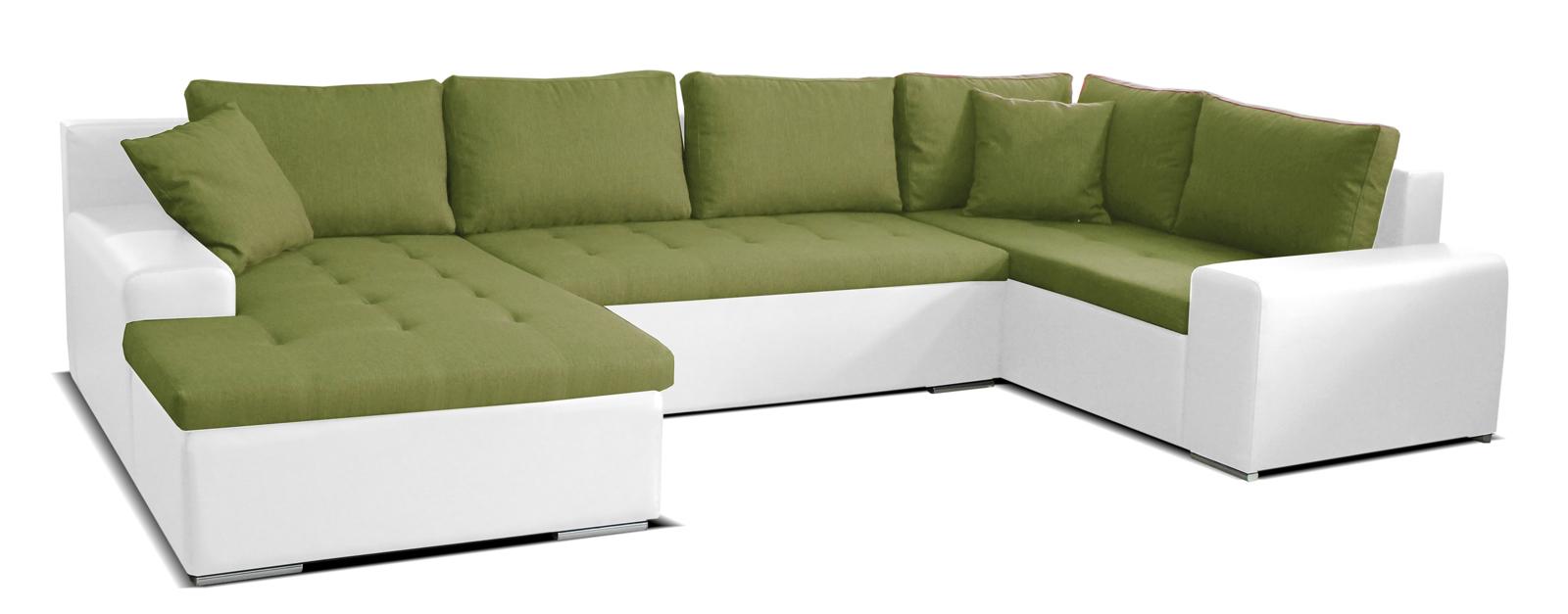 Rohová sedací souprava U - Po-Sed - Moreno L+2+BL (zelená + bílá) (L)