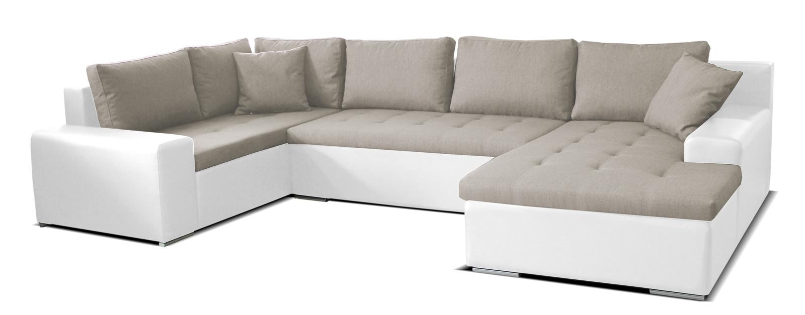 Rohová sedací souprava U - Po-Sed - Moreno BL+2+L (béžová + bílá) (P)