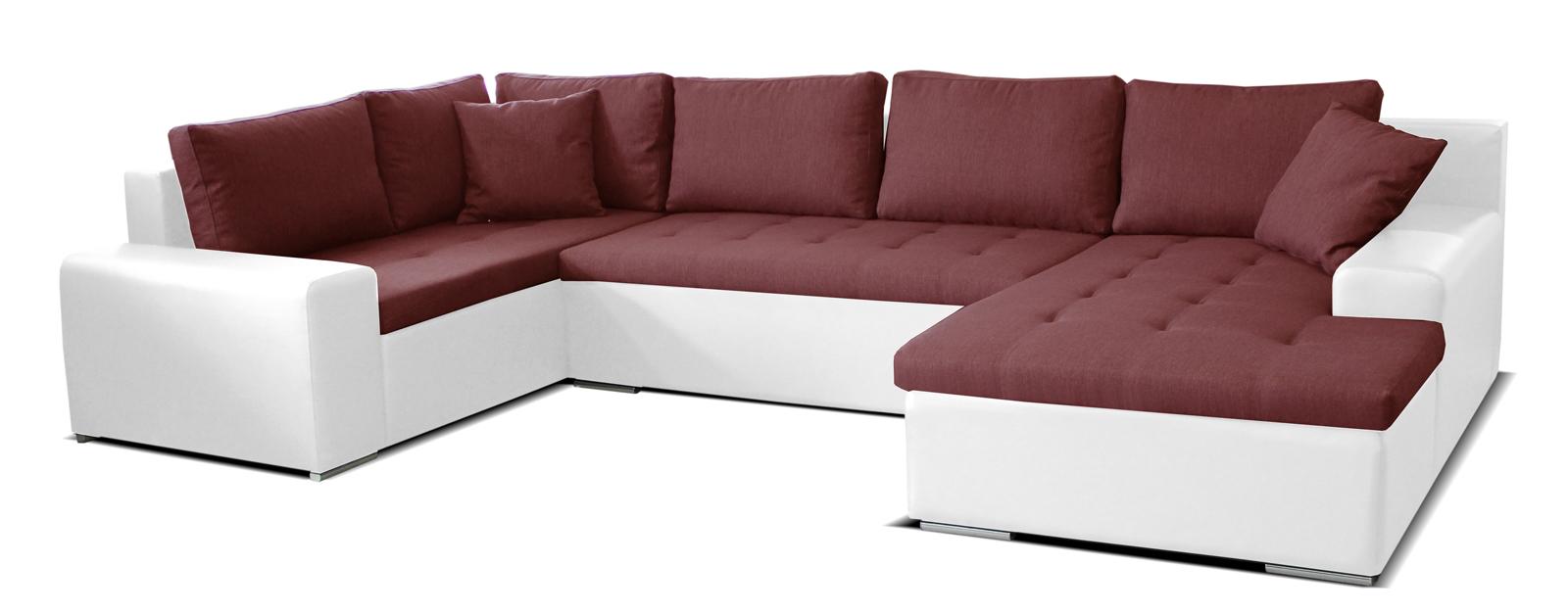 Rohová sedací souprava U - Po-Sed - Moreno BL+2+L (bordó + bílá) (P)