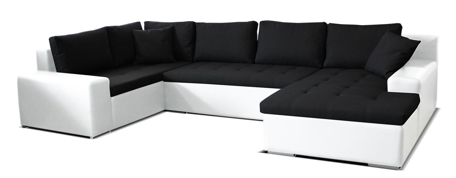 Rohová sedací souprava U - Po-Sed - Moreno BL+2+L (černá + bílá) (P)