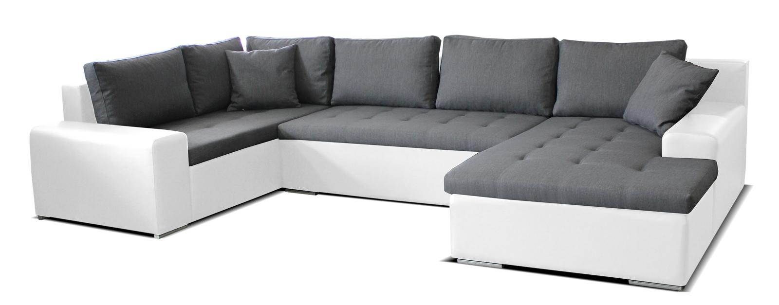 Rohová sedací souprava U - Po-Sed - Moreno BL+2+L (šedá + bílá) (P)