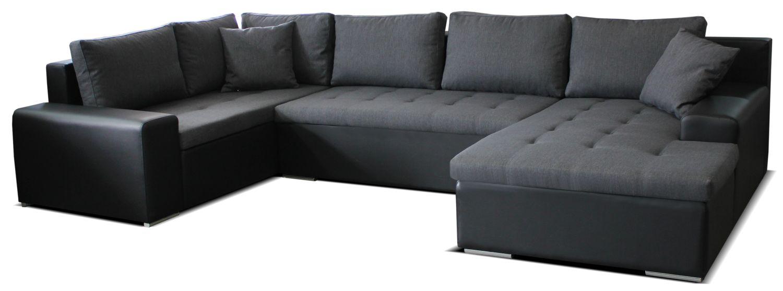 Rohová sedací souprava U - Po-Sed - Moreno BL+2+L (šedá + černá) (P)