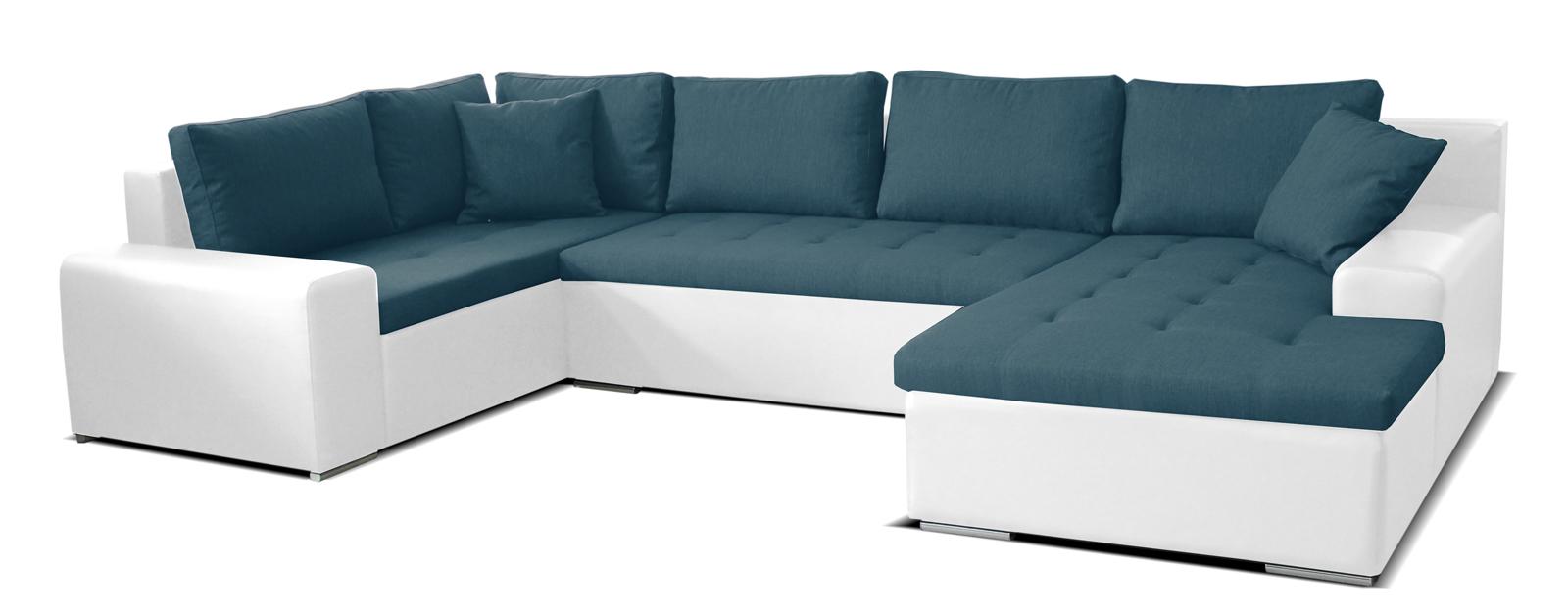 Rohová sedací souprava U - Po-Sed - Moreno BL+2+L (tyrkysová + bílá) (P)