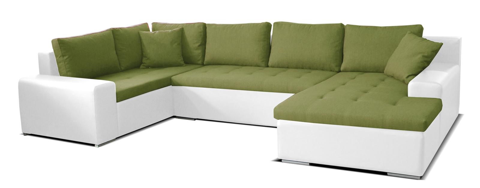 Rohová sedací souprava U - Po-Sed - Moreno BL+2+L (zelená + bílá) (P)
