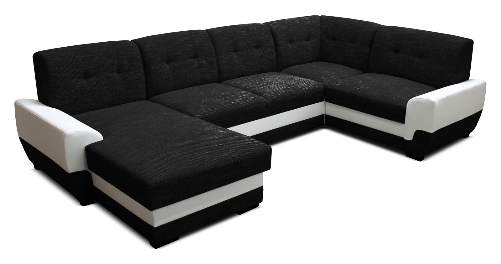 Rohová sedací souprava U - Po-Sed - Simona L+2+A+1 (černá + bílá) (L)