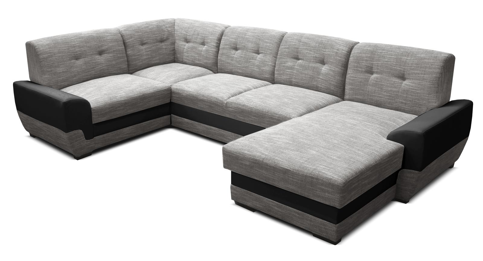 Rohová sedací souprava U - Po-Sed - Simona 1+A+2+L (šedá + černá) (P)