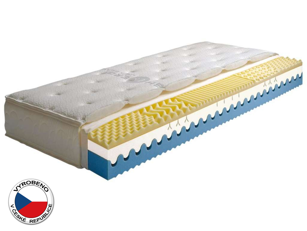 Pěnová matrace - Purtex - Sarah - 200x80 cm (T3). Luxusní a výhodná zdravotní matrace se snímatelným potahem, speciální paměťovou pěnou, pětizónovou profilací, pro optimální polohu těla a klidný spánek.