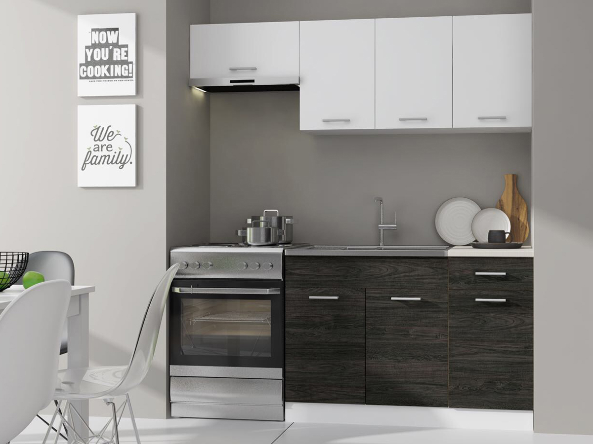 Kuchyně - Renar - Mona 180 cm bílá + dolce dub carbone