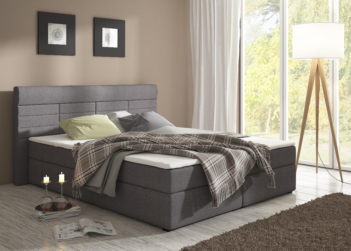 Manželská postel 160 cm - Renar - Torino savana grafit (s matracemi)