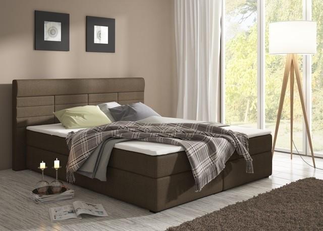 Manželská postel 160 cm - Renar - Torino savana hnědá (s matracemi)