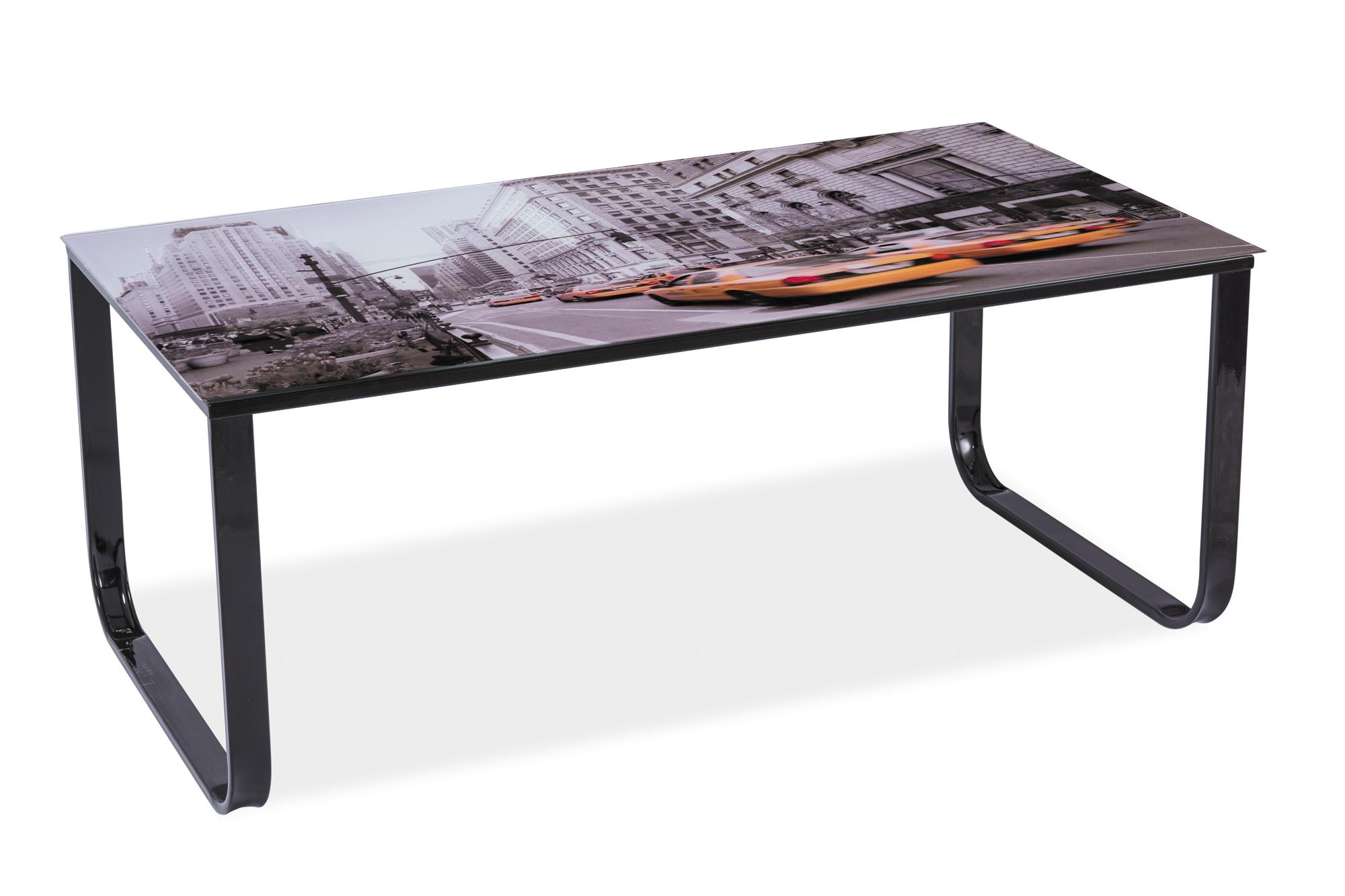 Konferenční stolek - Signal - Taxi II (černá + grafika New York)