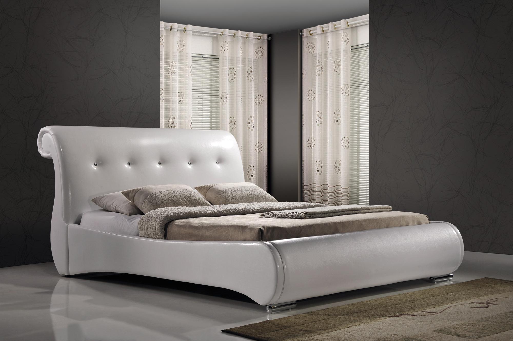 Manželská postel 160 cm - Signal - Mokka (bílá) (s roštem)