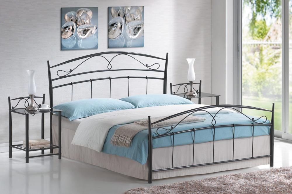 Manželská postel 160 cm - Signal - Siena černá (s roštem)