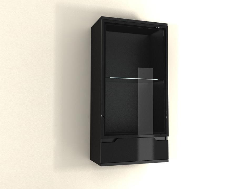Vitrína na zeď - Tempo Kondela - Adonis - AS 08 (černá) (s osvětlením)