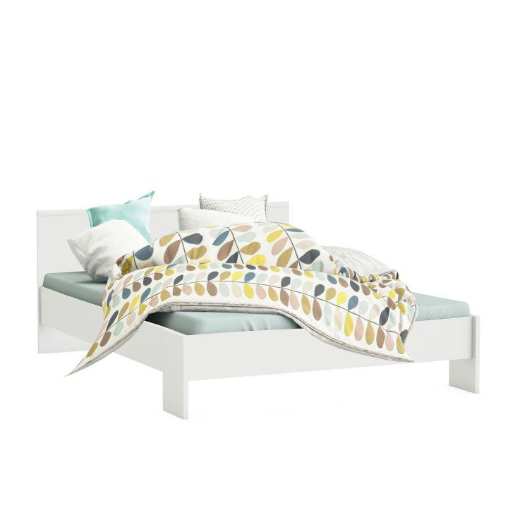 Manželská postel 160 cm - Tempo Kondela - ambiant (bílá)