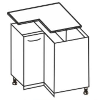 Spodní kuchyňská skříňka, rohová - Tempo Kondela - Cyra New - DN-90