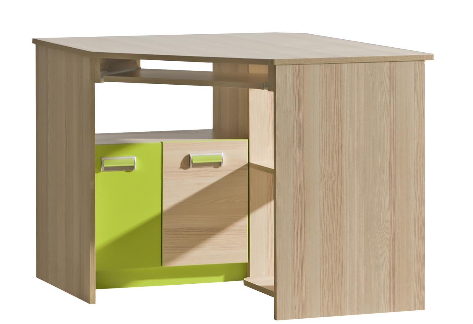 Rohový PC stolek - Tempo Kondela - Echo - L11 zelená