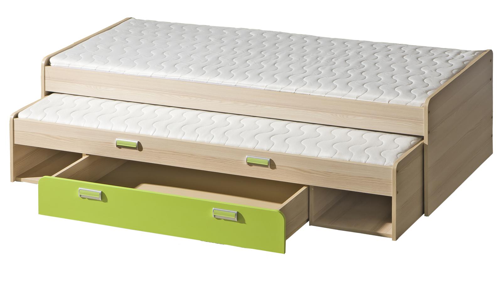 Rozkládací postel 80 cm - Tempo Kondela - Ego - L16 zelená (se dvěma matracíi a rošty)